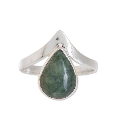 Apple Green Teardrop Jade Cocktail Ring from Guatemala