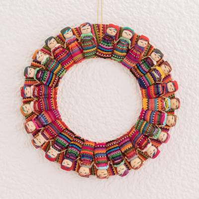 Cotton wreath, 'Quitapenas Happiness' - Cotton Worry Doll Wreath from Guatemala