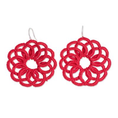 Circle Motif Hand-Tatted Dangle Earrings in Poppy