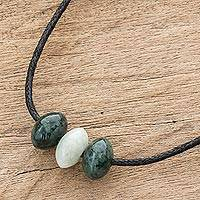 Jade beaded pendant necklace, 'Natural Luck' - Natural Jade Beaded Pendant Necklace from Guatemala