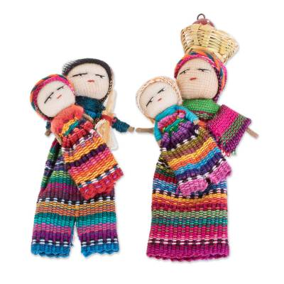 Cotton decorative dolls, 'Two Mothers' (pair) - Handmade Cotton Worry Dolls from Guatemala (Pair)