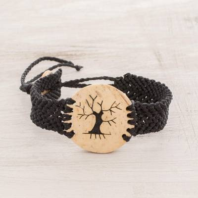 Coconut shell pendant bracelet, 'Bare Tree' - Coconut Shell and Lava Stone Tree Pendant Bracelet