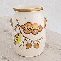 Ceramic utensil holder, 'Breath of Autumn' - Ceramic Utensil Holder with Hand-Painted Leaf Motifs