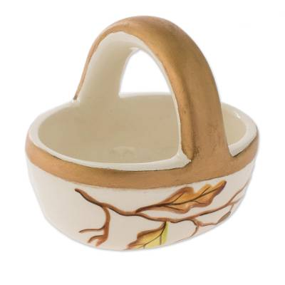 Ceramic Catchall with Hand-Painted Leaf Motifs
