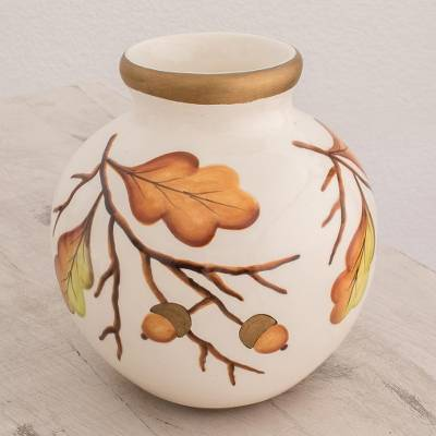 Ceramic vase, 'Round Autumn' - Round Ceramic Vase with Hand-Painted Leaf Motifs