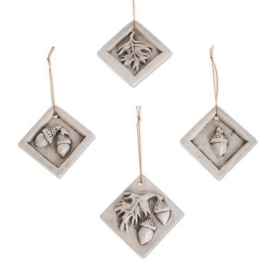 Acorn and Leaf Motif Ceramic Ornaments (Set of 4)