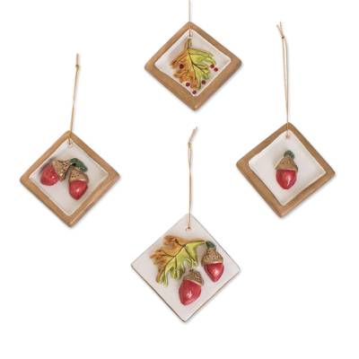 Acorn and Leaf Motif Ceramic Ornaments in Brown (Set of 4)