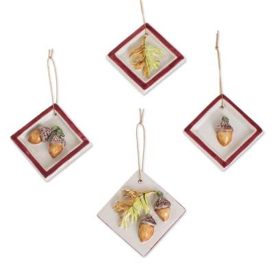 Acorn and Leaf Motif Ceramic Ornaments in Red (Set of 4)