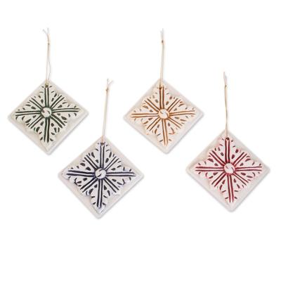 Assorted Color Ceramic Azalea Ornaments (Set of 4)