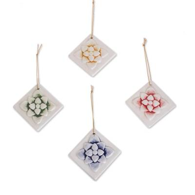 Assorted Color Ceramic Carnation Ornaments (Set of 4)