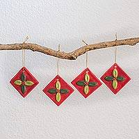 Ceramic ornaments, 'Mistletoe' (set of 4) - Green and Red Ceramic Mistletoe Ornaments (Set of 4)