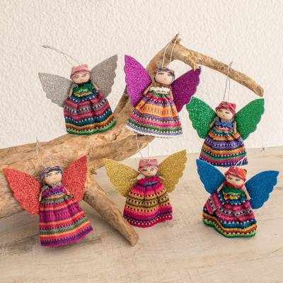Cotton ornaments, Quitapenas Angels (set of 6)