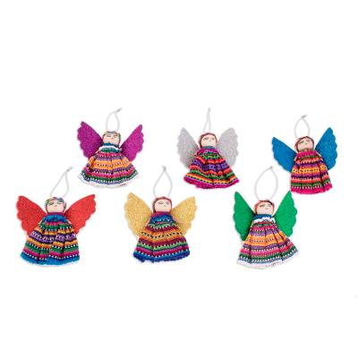 Cotton ornaments, 'Quitapenas Angels' (set of 6) - Cultural Cotton Angel Ornaments from Guatemala (Set of 6)