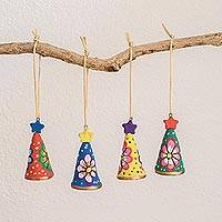 Ceramic ornaments, 'Sweet Trees' (set of 4) - Hand-Painted Floral Ceramic Ornaments (Set of 4)