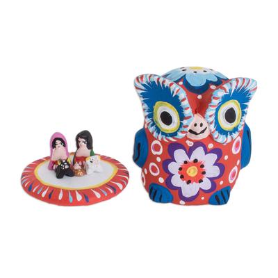 Ceramic nativity sculpture, 'Nativity within a Red Owl' - Red Owl Ceramic Nativity Sculpture from Guatemala