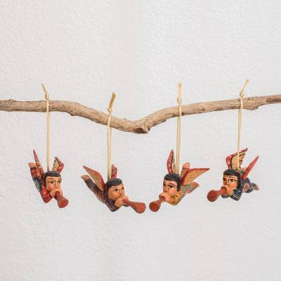 Wood ornaments, Angelic Announcement (set of 4)