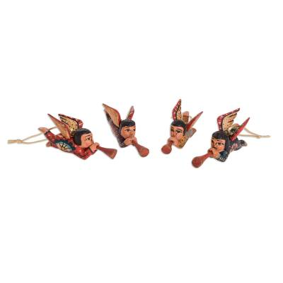 Wood ornaments, 'Angelic Announcement' (set of 4) - Pinewood Angel Ornaments from Guatemala (Set of 4)