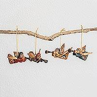 Wood ornaments, 'Angels of Care' (set of 4) - Hand-Painted Wood Angel Ornaments from Guatemala (Set of 4)