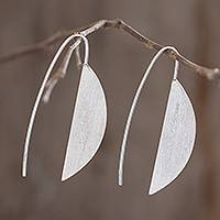 Sterling silver drop earrings, 'Subtle Nature' - Modern Sterling Silver Drop Earrings from Guatemala
