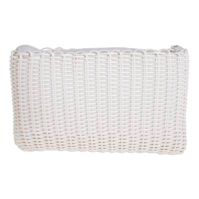 Handwoven Recycled Plastic Cosmetic Bag in Snow White