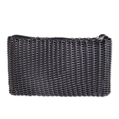 Handwoven Recycled Plastic Cosmetic Bag in Black