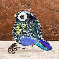 Art glass figurine, 'Paradise Bird' - Fused Art Glass Bird Figurine in Blue from El Salvador