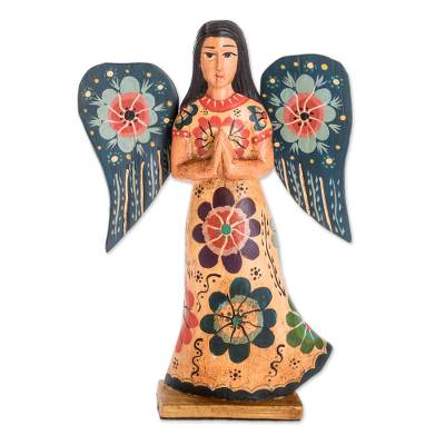 Wood sculpture, 'Angel of Prayer' - Floral Wood Praying Angel Sculpture from Guatemala