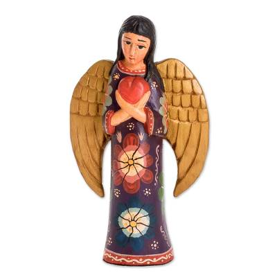 Wood sculpture, 'Caretaker of Love' - Floral Pinewood Sculpture of an Angel from Guatemala