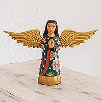 Wood sculpture, 'Angelic Reverence' - Hand-Painted Wood Angel Sculpture from Guatemala
