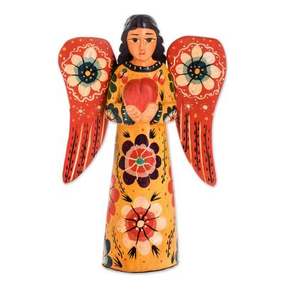 Wood sculpture, 'Offering Peace' - Floral Wood Angel Sculpture Holding a Heart from Guatemala