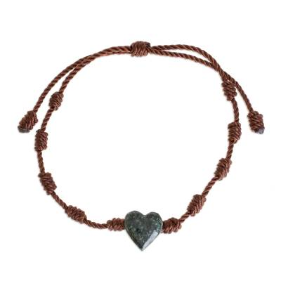 Jade pendant bracelet, 'Heart Between Knots' - Natural Jade Heart Pendant Bracelet from Guatemala