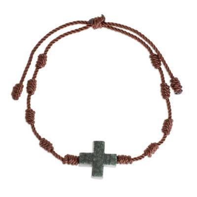 Jade pendant bracelet, 'Knot Cross' - Natural Jade Cross Pendant Bracelet from Guatemala