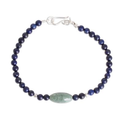 Jade and Lapis Lazuli Beaded Pendant Bracelet from Guatemala