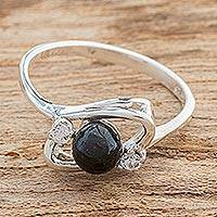 Jade single-stone ring, 'Maya Cosmos' - Cosmos-Inspired Black Jade Single-Stone Ring from Guatemala