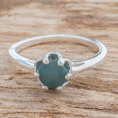 Jade single-stone ring, 'Maya Crown' - Prong-Set Jade Single-Stone Ring from Guatemala