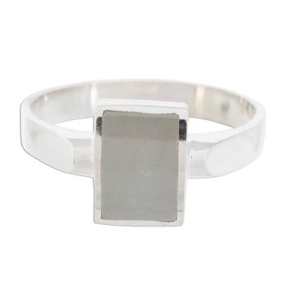 Jade cocktail ring, 'Gleaming Rectangle' - Rectangular Jade Cocktail Ring from Guatemala