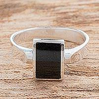 Jade cocktail ring, 'Gleaming Rectangle in Black'