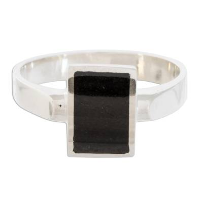 Jade cocktail ring, 'Gleaming Rectangle in Black' - Black Rectangular Jade Cocktail Ring from Guatemala