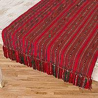 Cotton table runner, 'Party Stripes' - Crimson and Green Striped Cotton Table Runner from Guatemala