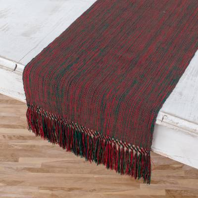 Cotton table runner, 'Mistletoe Charm' - Crimson and Emerald Handwoven Cotton Table Runner