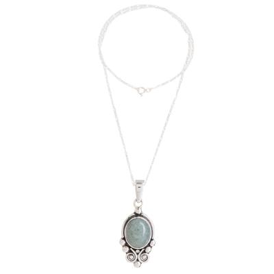 Jade pendant necklace, 'Praise Love in Apple Green' (1.5 inch) - Apple Green Jade Pendant Necklace from Guatemala (1.5 Inch)