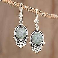 Jade dangle earrings, 'Praise Love in Apple Green'