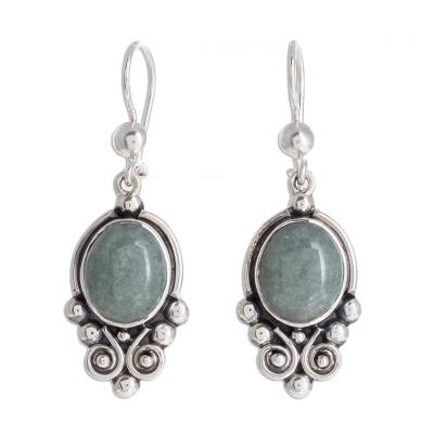 Jade dangle earrings, 'Praise Love in Apple Green' - Apple Green Jade Dangle Earrings from Guatemala