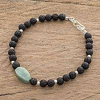 Jade and lava stone beaded pendant bracelet, 'Apple Green Mountain of Lava' - Apple Green Jade and Lava Stone Beaded Pendant Bracelet