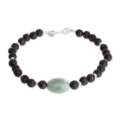 Jade and lava stone beaded pendant bracelet, 'Apple Green Mountain of Lava' - Apple Green Jade and Lava Stone Beaded Pendant Bracelet