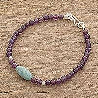 Jade and amethyst beaded pendant bracelet, 'Garden of Delight' - Jade and Amethyst Beaded Pendant Bracelet from Guatemala