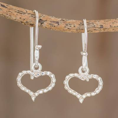 Sterling silver dangle earrings, 'Real Hearts' - Heart-Shaped Sterling Silver Dangle Earrings from Guatemala