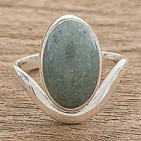 Jade cocktail ring, 'Mystery of the Earth' - Oval Apple Green Jade Cocktail Ring from Guatemala