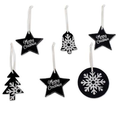 Black and White Leather Christmas Ornaments (Set of 6)