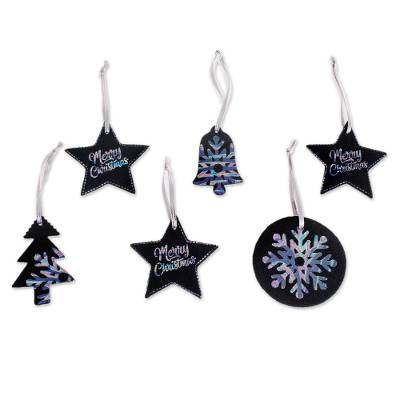 Black and Multicolor Leather Christmas Ornaments (Set of 6)